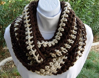 OOAK Dark Brown & Light Beige Tan Infinity Scarf, Bulky Winter Cowl, Two-Toned Striped Soft Thick Chunky Crochet Knit Loop, Ready to Ship