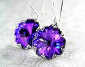Swarovski Crystal Purple Earrings Sterling Silver Hook Dangle Drop Earrings Plum Violet Purple Crystal Earrings Purple Jewelry