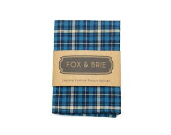 Ocean Plaid Pocket Square