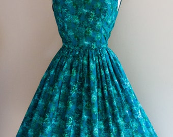 1950s Abstract Print Dress