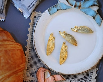 2 pcs of Real gold plated single wings