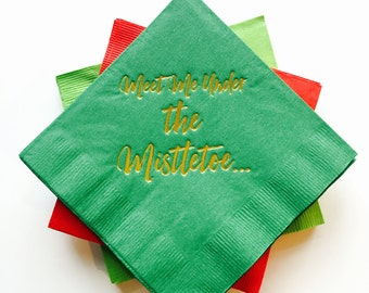 Meet Me Under the Mistletoe Gold Foil Napkins - Set of 20