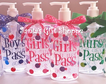Bathroom Pass, Teacher Appreciation Day, Personalized Hand Sanitizer, Teacher Gift, Christmas Gift, ONE  8-10oz., Children, Teens, Kids