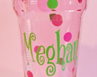 Personalized, Vinyl Name Decal plus Dots for Tumbler, Christmas Gift, TUMBLER NOT INCULDED, Teachers, Tweens,Teenagers