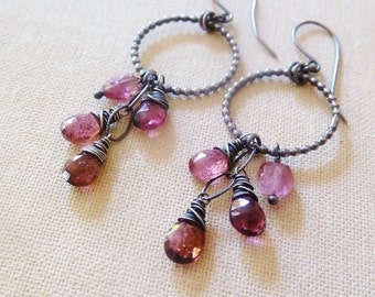 Pink Tourmaline silver chandelier earrings. Oxidized silver. October Birthstone earrings. Drop earrings. Hoop earrings. Gifts for Libra