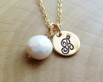 Personalized Initial with Birthstone Necklace. Any 1 birthstone Charm. Gold or Silver. Coin Pearl.White Pearl necklace. June birthstone Gift