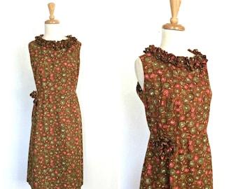 Vintage Shift Dress - sheath dress - 1960s dress - sundress - novelty dress  - knee length - L