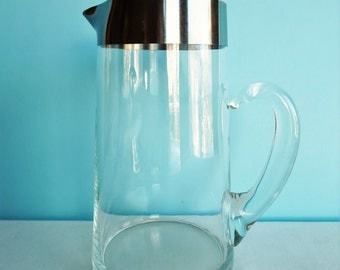 Dorothy Thorpe Silver Band Glass Pitcher - Sterling Silver Rim - 52 Oz Pitcher