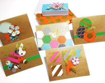 Handmade Stationery Boxed Note Card Set -Kraft and Gold Foil Stripe 5 Note Cards with Envelopes and a handmade stationery or gift box