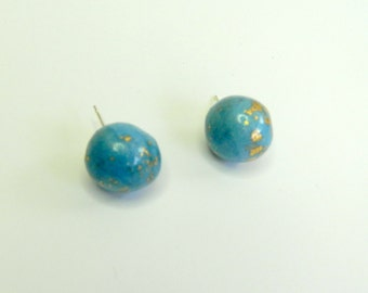 Blue Ball Stud Earrings Sky Blue Stud Earrings Light Blue Stud Earrings Blue Ball Post Earrings Polymer Clay Earrings Hand Made