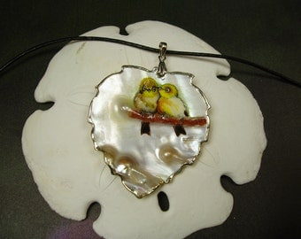 Loving Birds/ Hand Painted Natural Mother of Pearl Shell Pendant/ Original Painting/ Sea Shell Arts