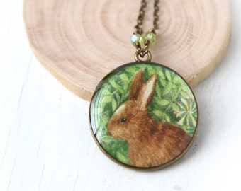 Woodland Pendant, Bunny Rabbit Vintage Art Necklace - Easter