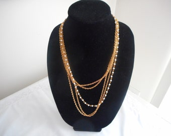 Vintage Faux Pearl Bead Multi Strand Gold Tone Necklace