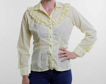 Vintage 70's women's Rockmount western shirt, pale yellow, ruffly details around yoke and sleeves, western snap buttons - Small