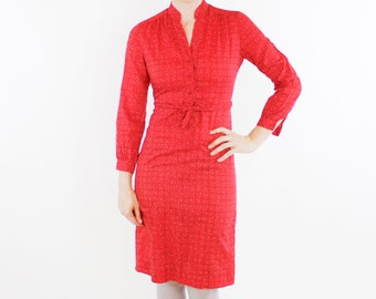 Vintage 70's secretary dress, Schrader Sport Petites, rust red, pink & white dots, abstract plaid / checker pattern, attached belt - Small