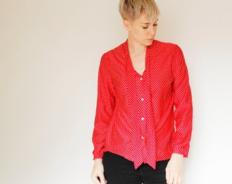 Vintage 70's button down polyester shirt, red with small white polka dots, bow collar, small cuffs - Medium