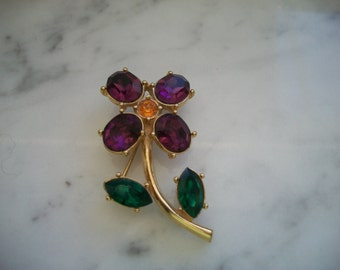Purple, Green and Topaz Rhinestone Flower Brooch/Pin
