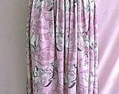 1970s Mauve and Pink Bird Collage Print Hippie Style Polyester Maxi Skirt