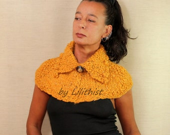Knit Cape, Wool Capelet, Bolero Cape, Wool Poncho, Collar Cape, Cowl Shawl, Cable Knit Cowl Scarf, Yellow Crochet Cape, Sweater Shrug, Gift