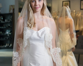 fingertip alencon lace veil 40 inches natalie