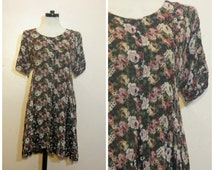 90s Floral Babydoll Dress Medium Large Grunge Black and Pink