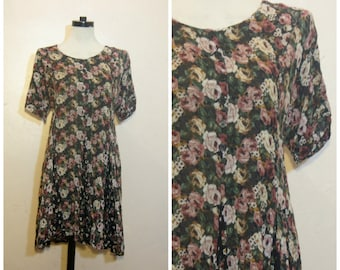 90s Floral Babydoll Dress Medium Large Grunge Black and Pink