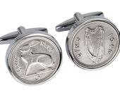 70th Handmade Gift -Lucky Irish 1946 Coin Cufflinks - Genuine Ireland 1946 Coin