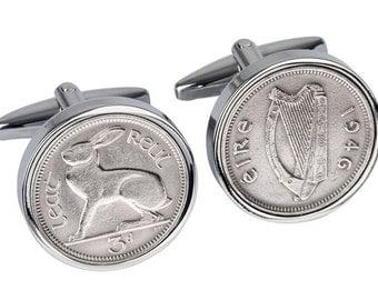 71st Birthday Gift -Lucky Irish 1946 Coin Cufflinks - Genuine Ireland 1946 Coin - 100% satisfaction