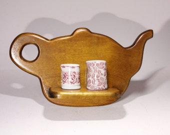 Vintage Wooden Tea Pot Shelf - circa 1980's