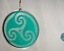 Teal Celtic Swirl Stained Glass Suncatcher
