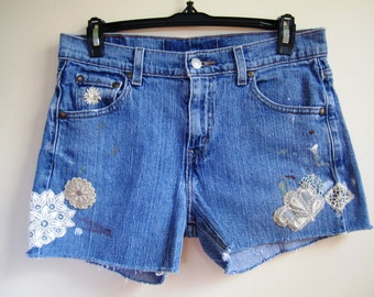 Cutoff Jean Shorts Upcycled Victorian Ecru Crochet Lace Embellished Rocker Boho Denim - Size Small