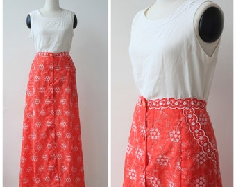 on SALE. 1970s Vintage Red Maxi Skirt, Hand Embroidered Skirt L XL Button Front Floor Length Skirt