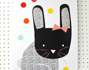 Bunny Print Black White Geometric A3 Poster