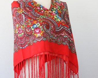 Red Russian scarf ukrainian shawl red fringe scarf fall autumn scarf floral scarf soviet scarf russian shawl ukrainian scarf christmas gift