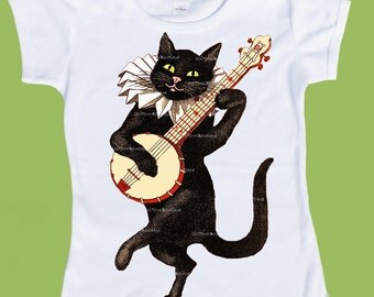 Black Cat Shirt, Banjo Cat, Black cat, Vintage cat, banjo, Baby girls clothes, baby boys clothes, ToddlerT-Shirt, by ChiTownBoutique.etsy
