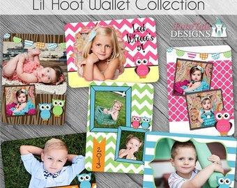 SALE INSTANT DOWNLOAD - Lil' Hoot Wallet Template Collection- Set of 6 custom photo templates for photographers