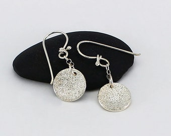 Handcrafted Sterling Silver Round Drop/Dangle Earrings Petite Circle Silver Dust Texture Contemporary Artisan Jewelry Design 991355812216