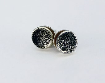 Handcrafted Sterling Silver Tiny Round Stud/Post Earrings Textured Patina Surface Contemporary Minimalist Artisan Jewelry 0706559921016