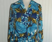 Sale Valentines 1970s Long Sleeved Polyester Blouse, Vibrant Floral, Wide Collar, Size Large,  #36874