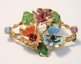 Vintage enamel flower brooch. pastel flower brooch