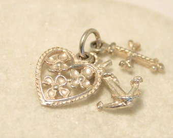 Vintage Faith, Hope and Charity charm.  Sterling silver charm. Heart, cross and anchor charm