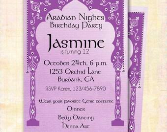 Arabian Nights Invitation, DIY Custom Printable/Girl's Birthday/Jasmine Aladdin Moroccan Arch/Bachelorette/Wedding Shower/Hafla/Ladies Night