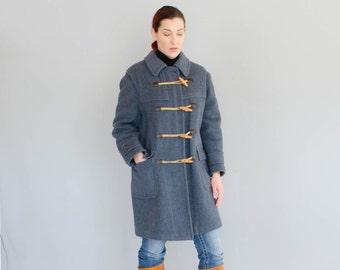 Vintage 1970s Duffle Jacket - 70s Toggle Coat -  Overcast Wool Coat