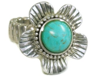 Turquoise Stretch Ring - Flower - Adjustable Ring - Hippie - Cowgirl - Flower Power - Multifinger Ring - Bohemian - Turquoise Stone