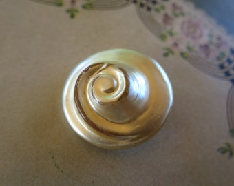 Spiral Shell Button One Large Polished Mother of Pearl Look Lucite Swirled Button Metal Shank Back 1 1/4 in 3 cm Diameter 3/8 inch  1 cm D