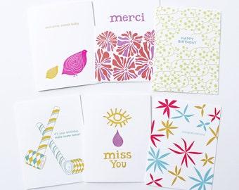 SALE - Sample Sale - Letterpress Sale Pack - 10 Letterpress Greeting cards
