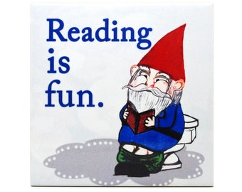 Reading Gnome Bathroom Wall Art Ceramic 4x4 Tile