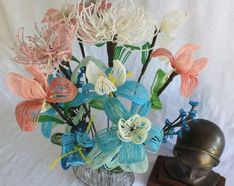 Bouquet Antique French Beaded Flowers 13 Stems