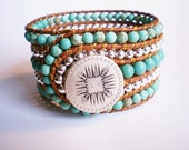 Turquoise Jewelry Cuff Beaded Bracelet with Mayan Mandella Button by Jenny Whisconier