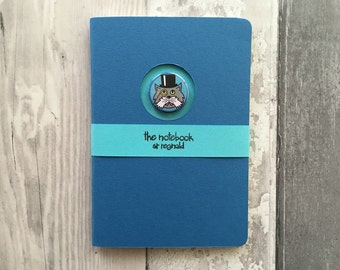 REDUCED TO CLEAR Handmade cat notebook - A6 handstitched journal, unlined, blue & turquoise, unique design with cat badge, cat lover gift